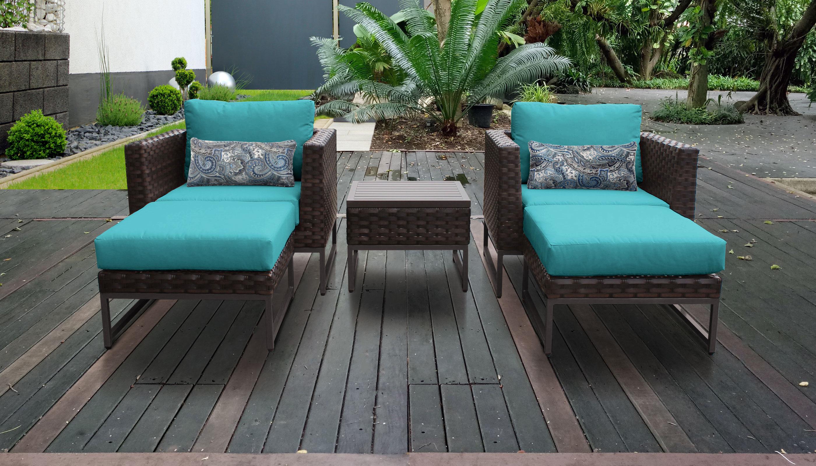 Barcelona 5 Piece Outdoor Wicker Patio Furniture Set 05b