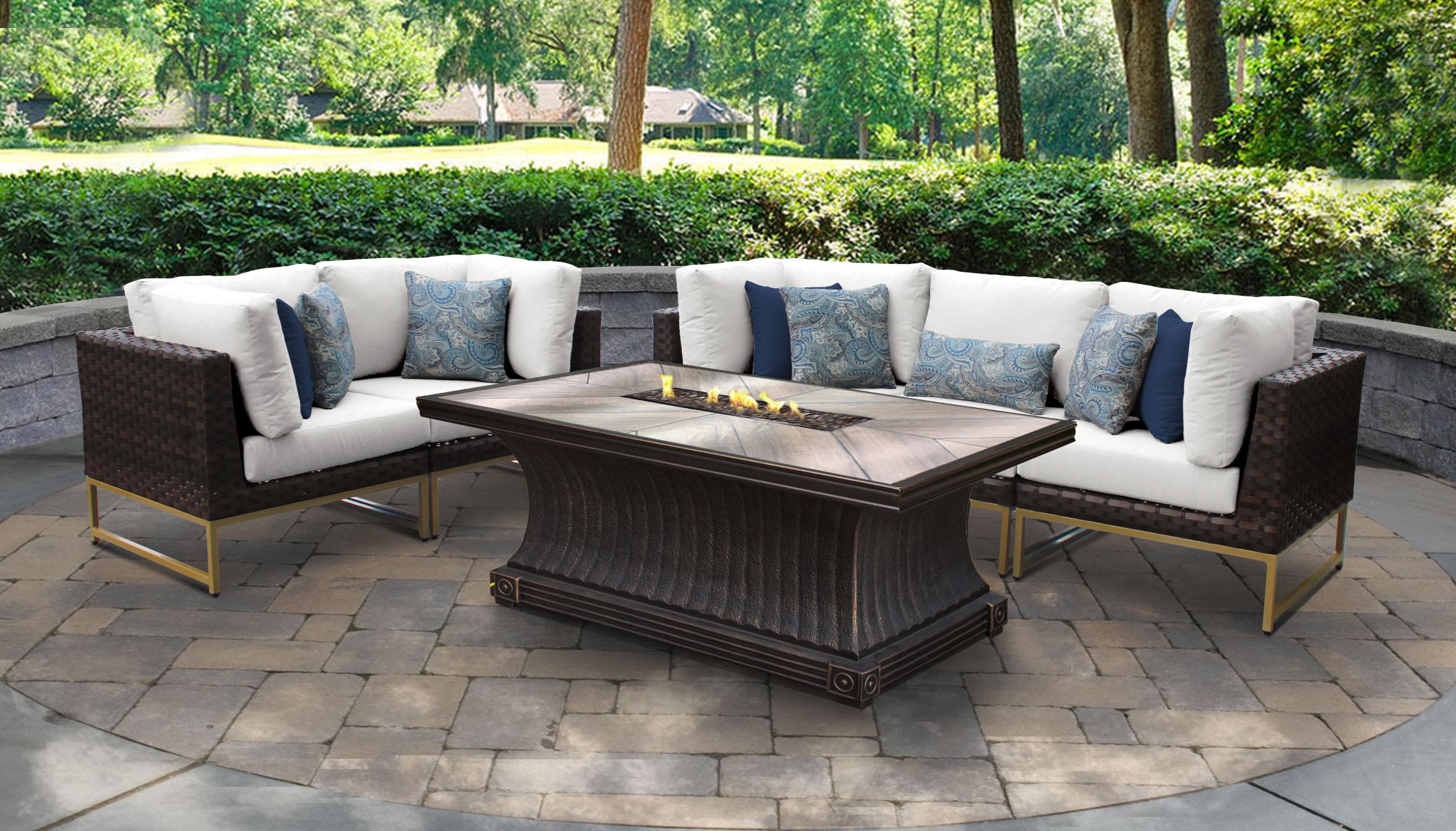 White Barcelona 6 Piece Outdoor Wicker Patio Furniture Set 06n Tk Clics