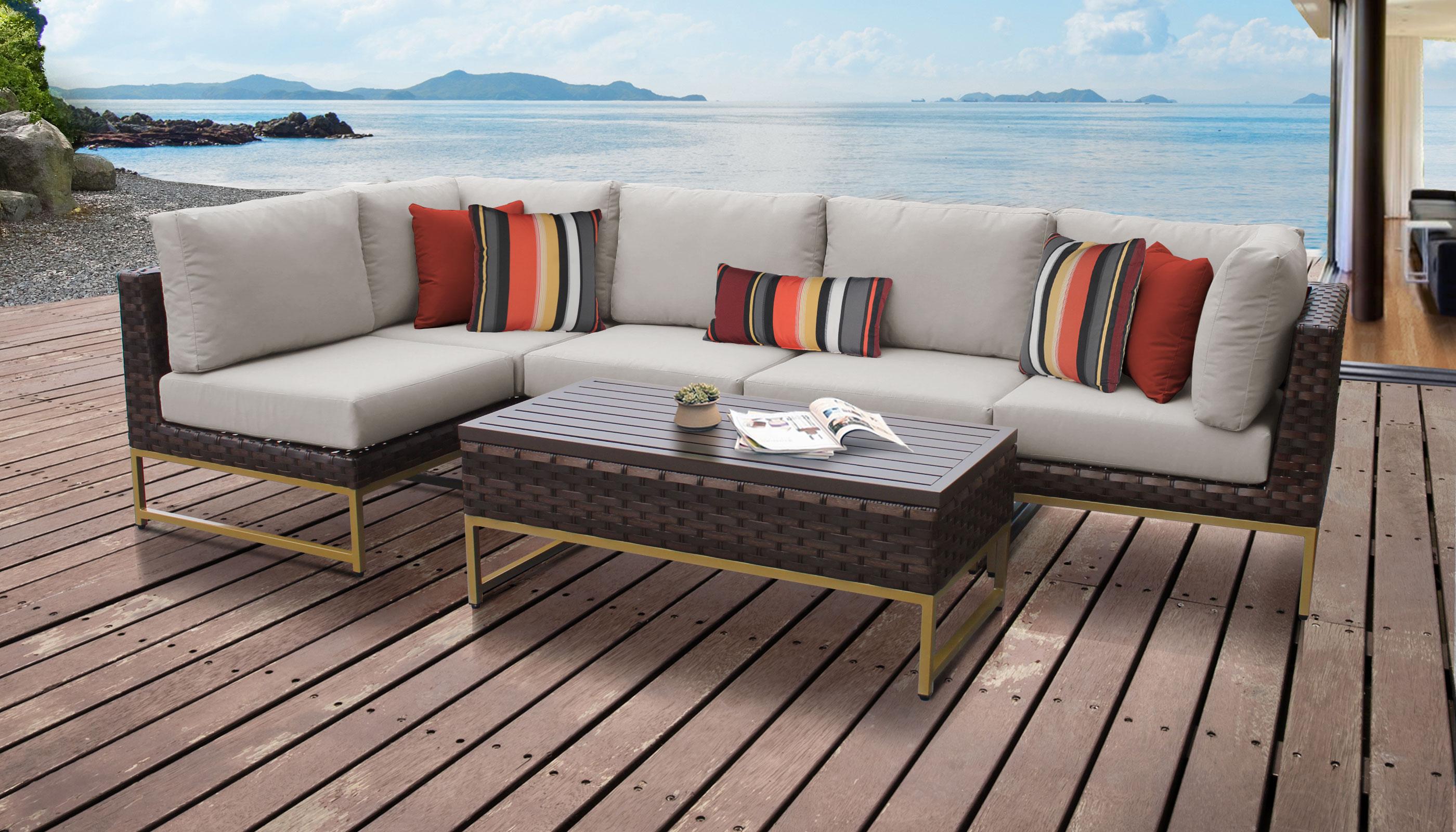 Barcelona 6 Piece Outdoor Wicker Patio Furniture Set 06q
