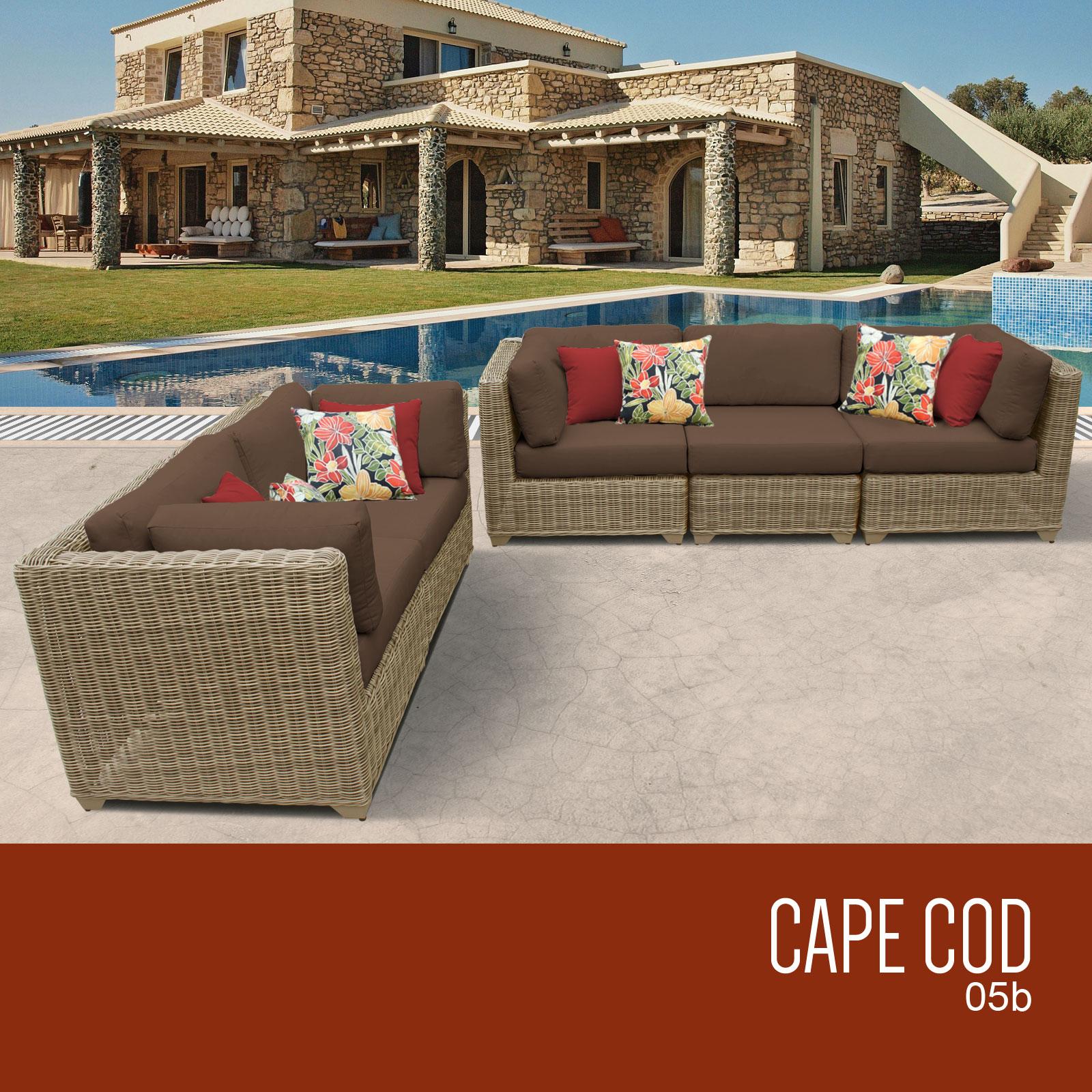 Cape Cod 5 Piece Outdoor Wicker Patio Furniture Set 05b