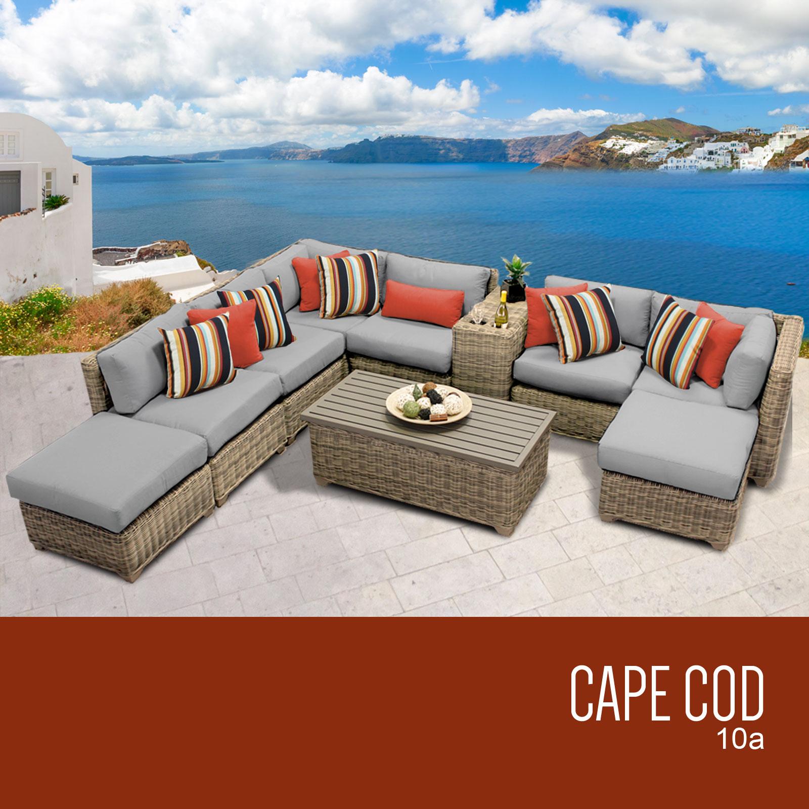 Grey Cape Cod 10 Piece Outdoor Wicker Patio Furniture Set 10a