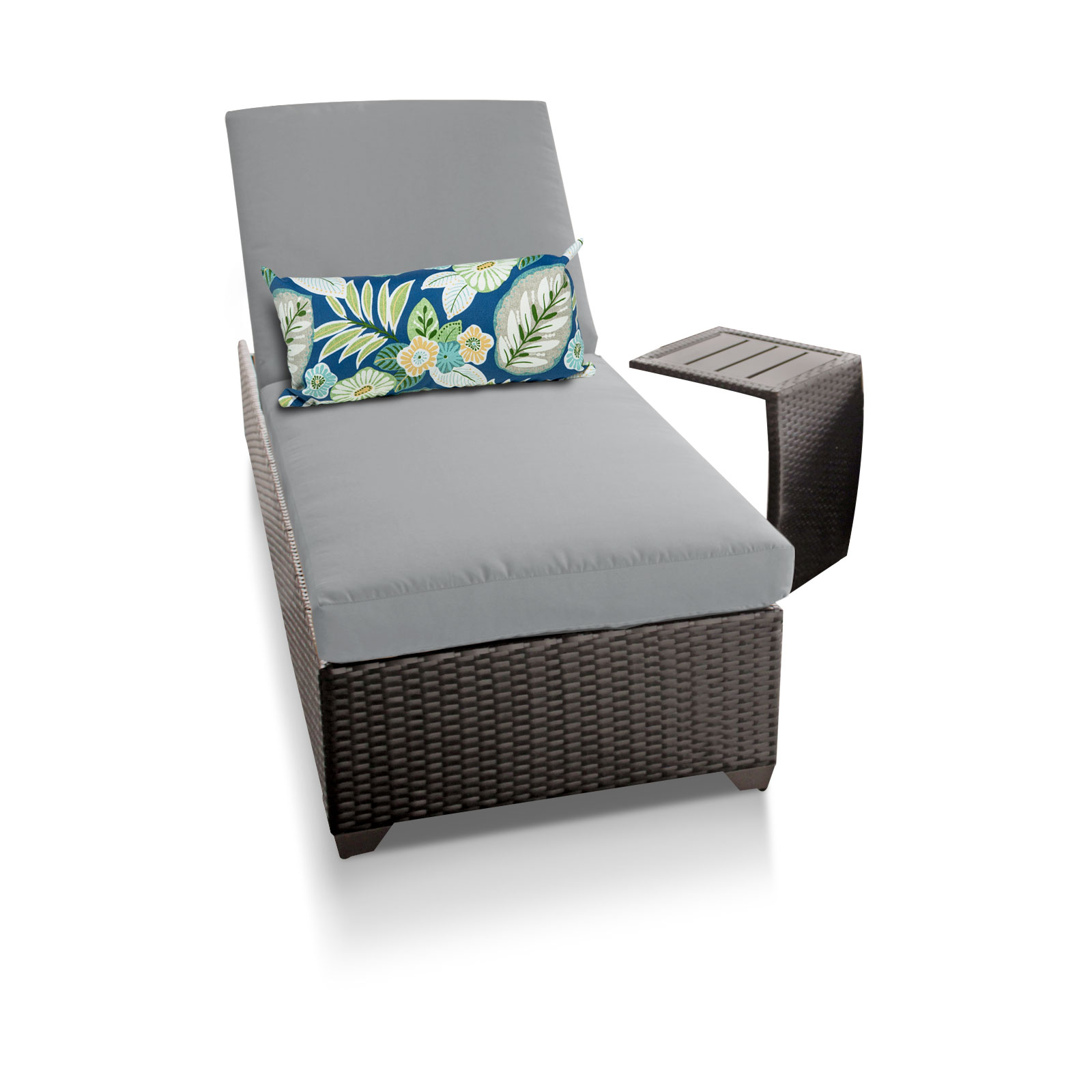 Classic chaise outdoor wicker patio furniture with side table for Chaise table