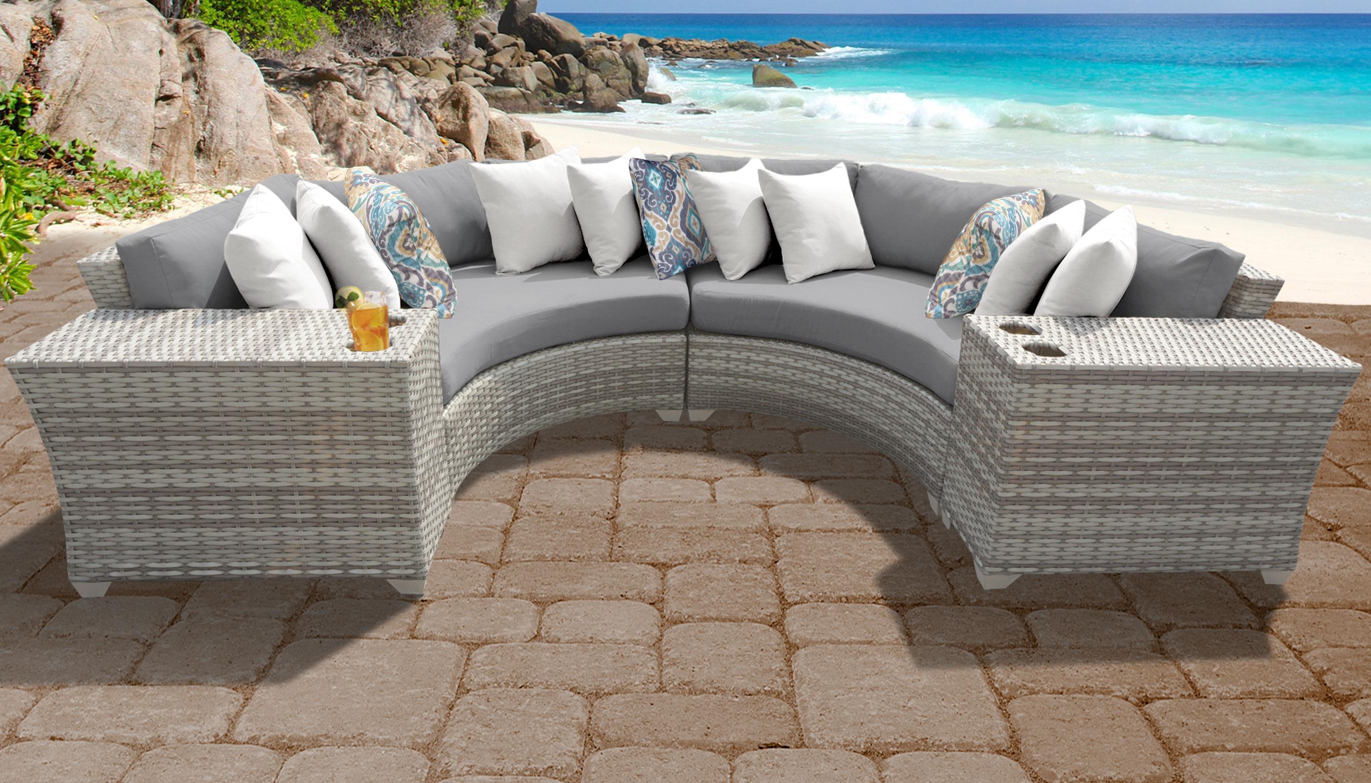 Grey Fairmont 4 Piece Outdoor Wicker Patio Furniture Set 04c