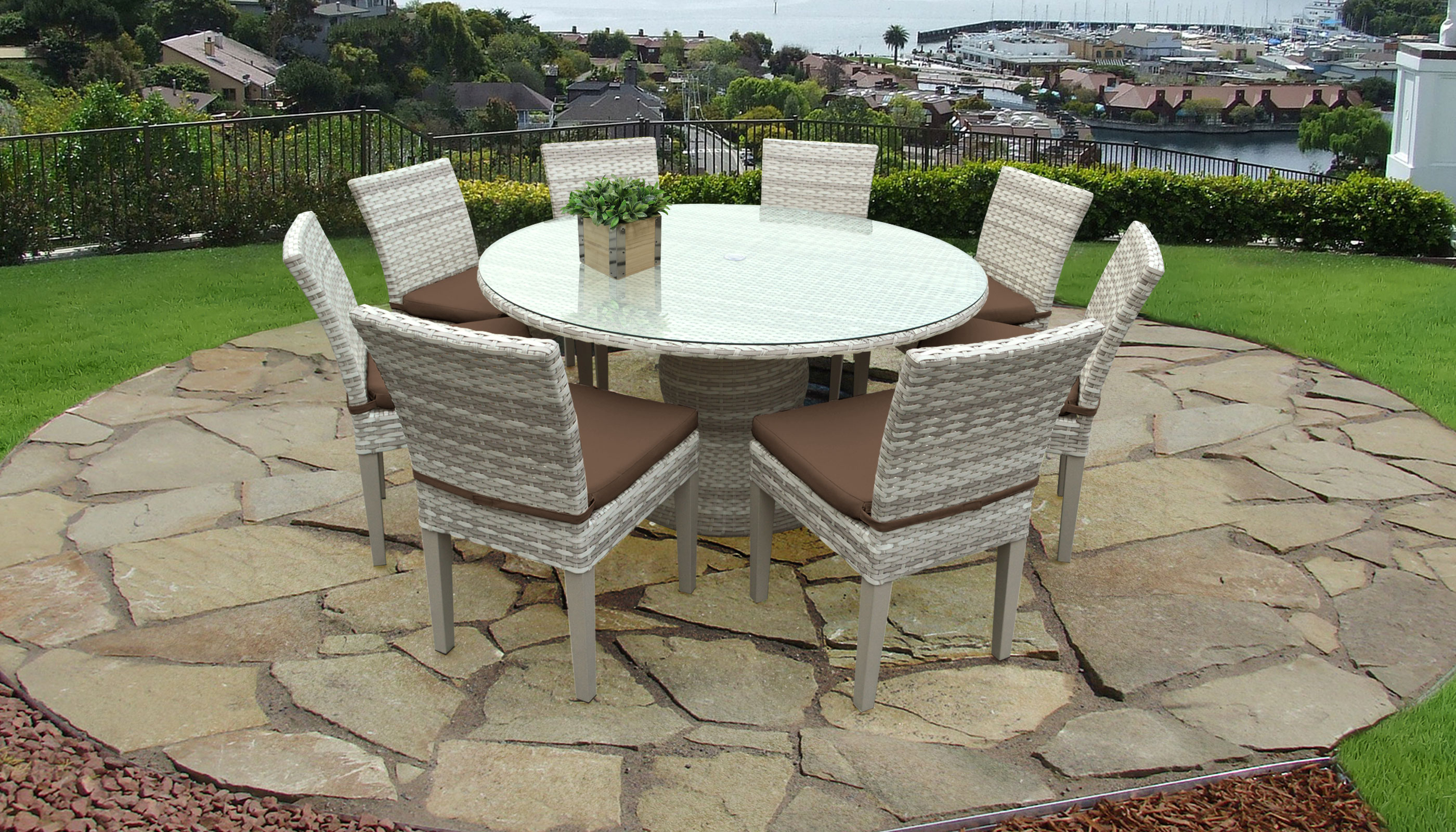 Fairmont 60 Inch Outdoor Patio Dining Table With 8 Armless