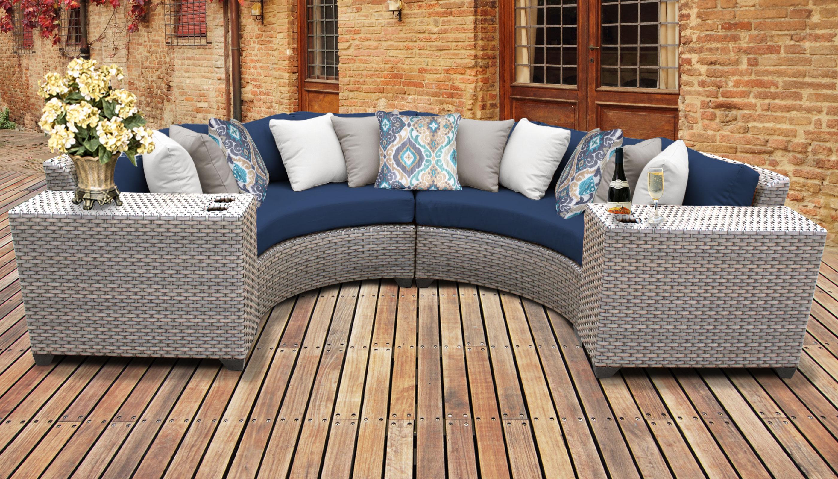 Navy Florence 4 Piece Outdoor Wicker Patio Furniture Set 04c Tk Clics