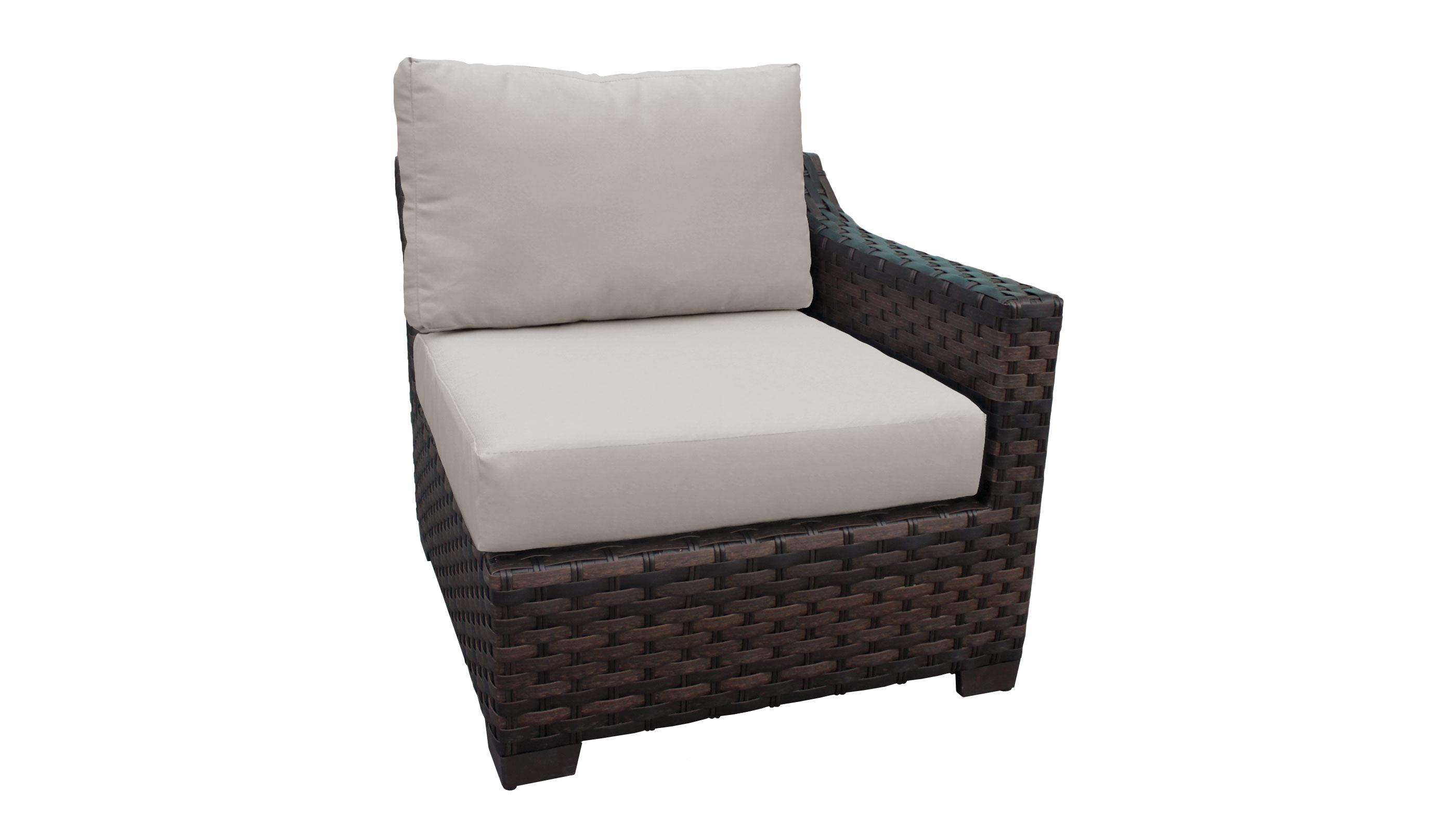 kathy ireland River Brook 5 Piece Outdoor Wicker Patio Furniture Set 05a - TK Classics