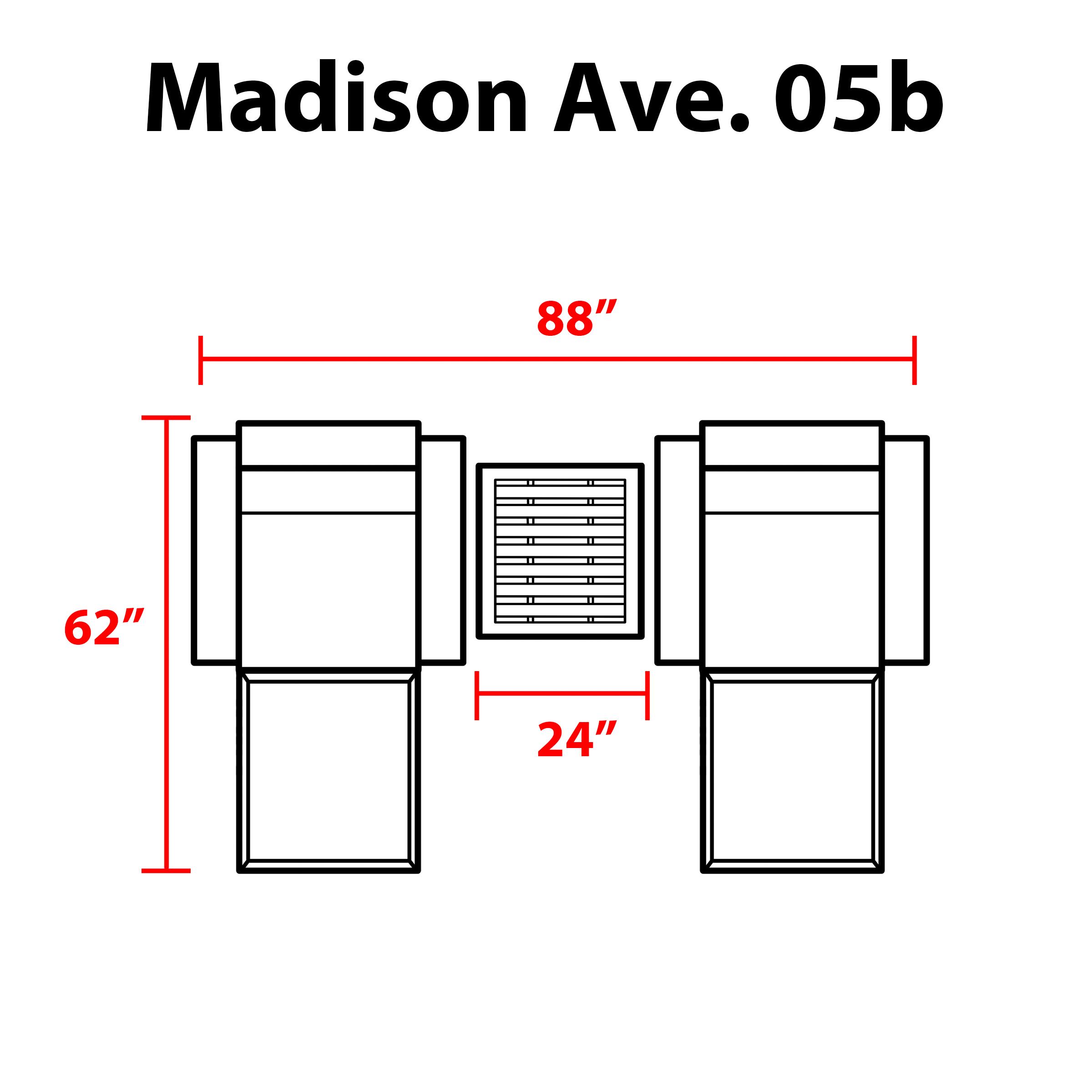 kathy ireland Homes & Gardens Madison Ave. 5 Piece Outdoor Aluminum Patio Furniture Set 05b - TK Classics