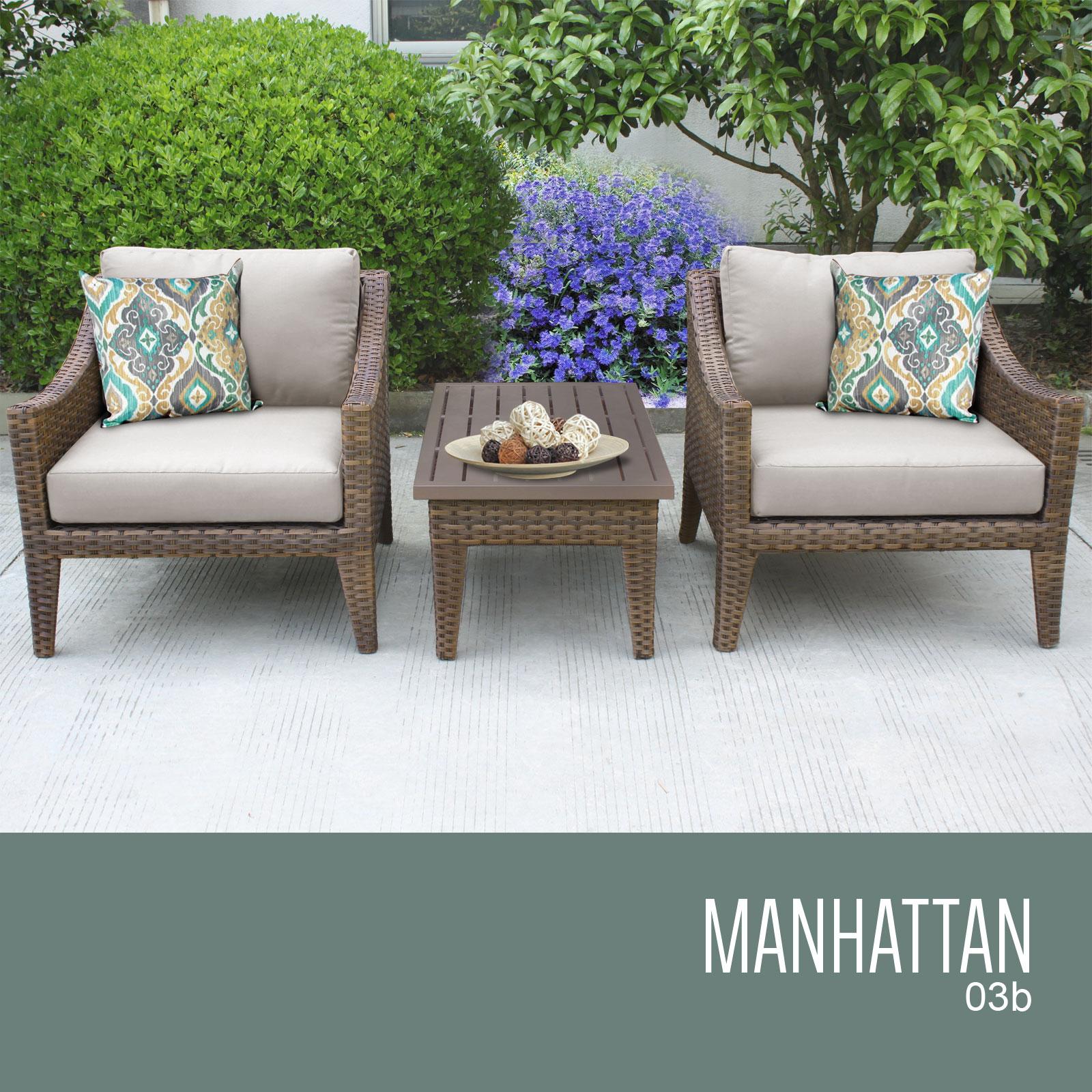 Beige Manhattan 3 Piece Outdoor Wicker Patio Furniture Set 03b