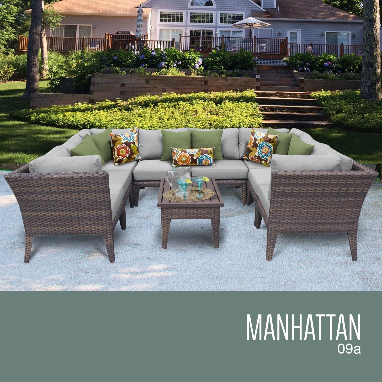 Tk classics manhattan 9 piece outdoor wicker patio for Outdoor furniture 9 piece