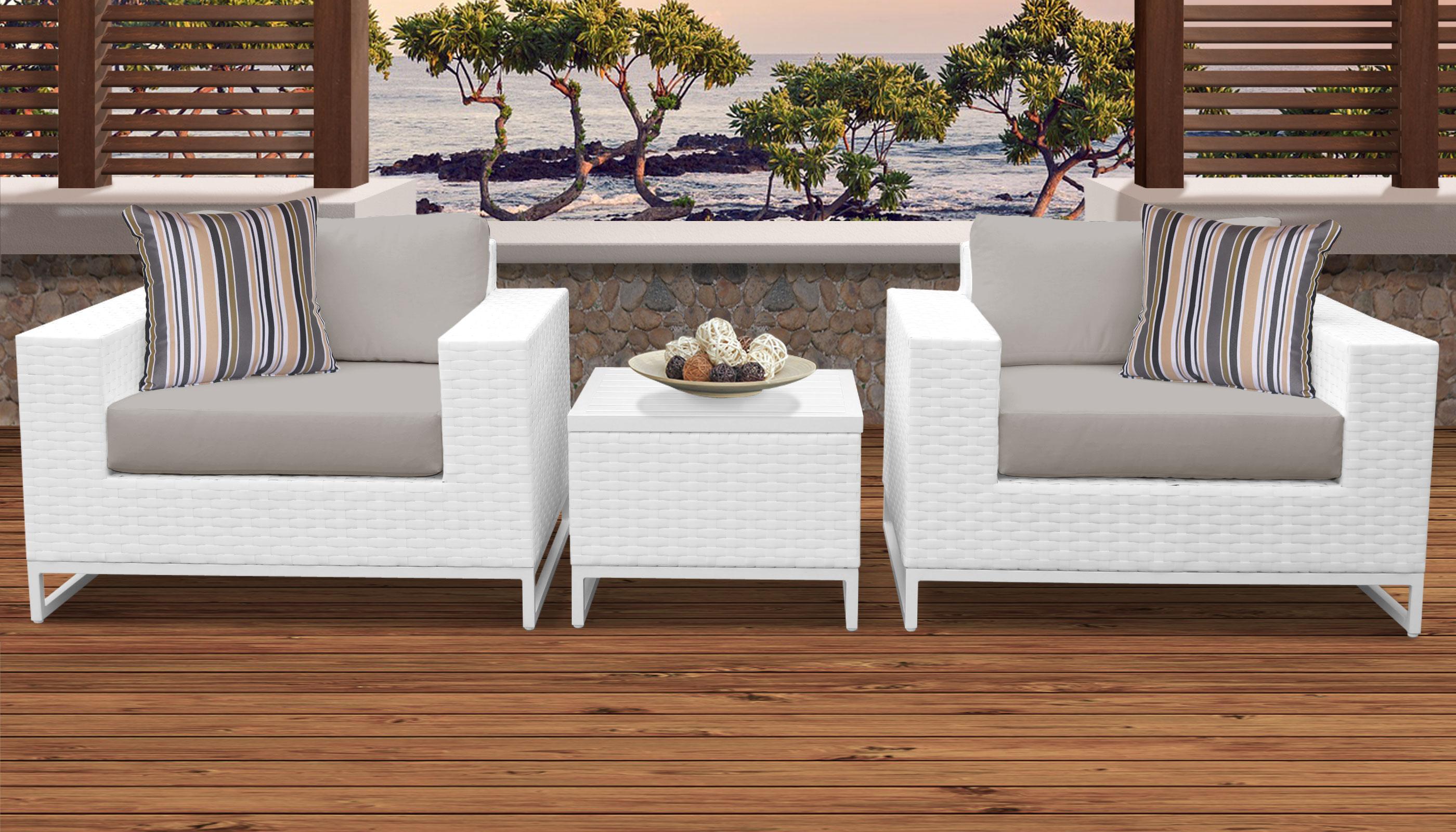 Miami 3 Piece Outdoor Wicker Patio Furniture Set 03b
