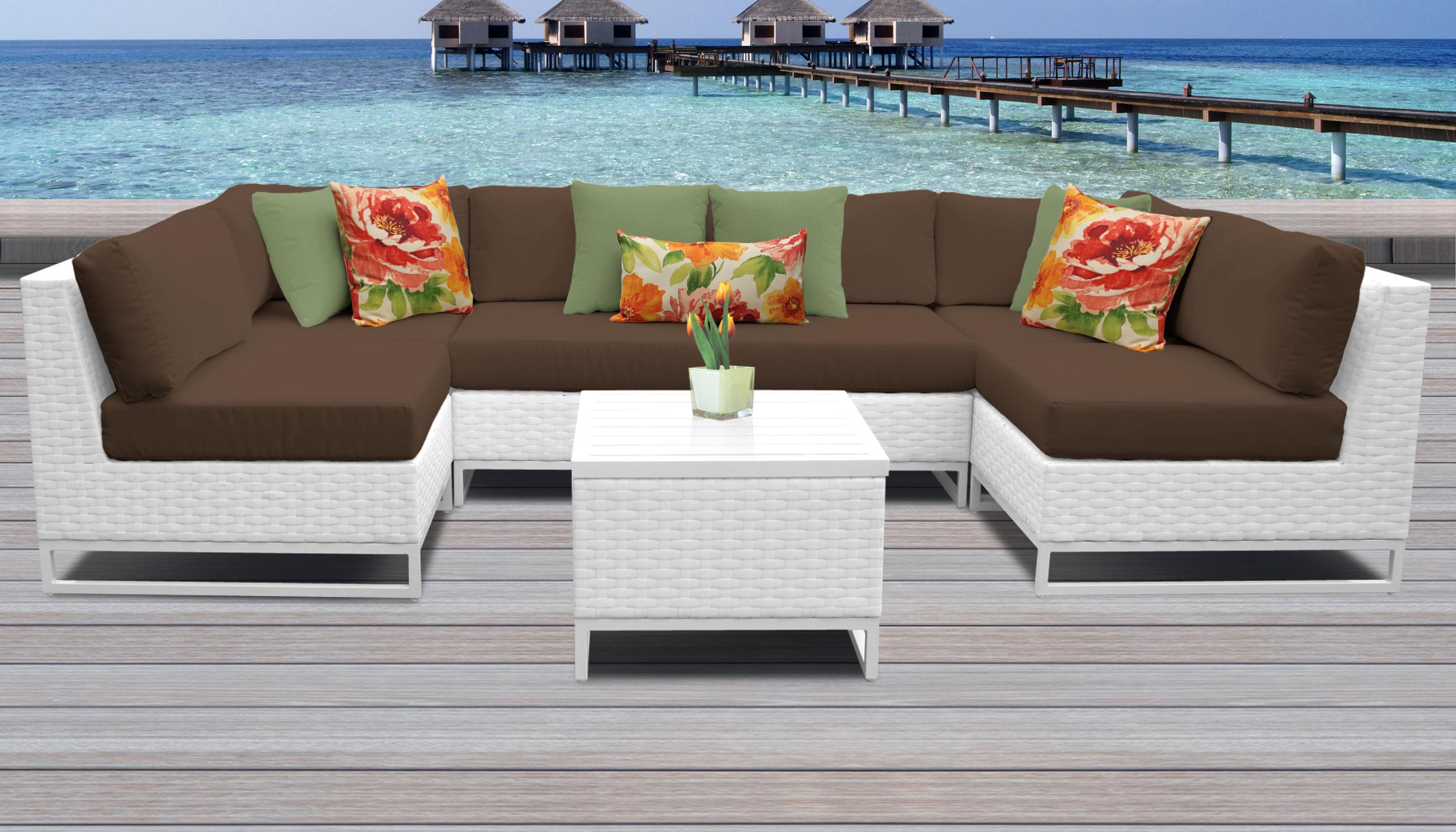 Cocoa Miami 7 Piece Outdoor Wicker Patio Furniture Set 07d
