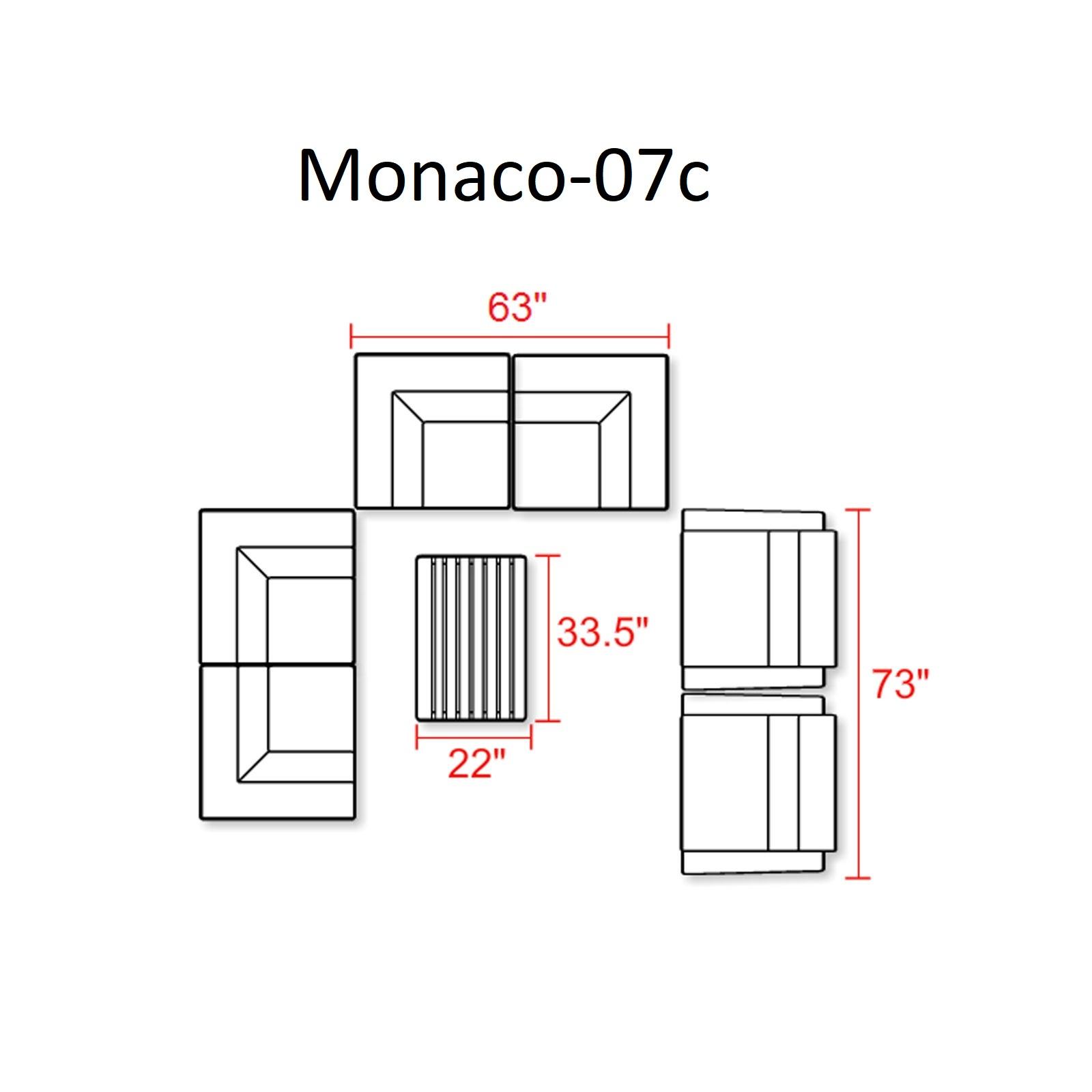 Monaco 7 Piece Outdoor Wicker Patio Furniture Set 07c -