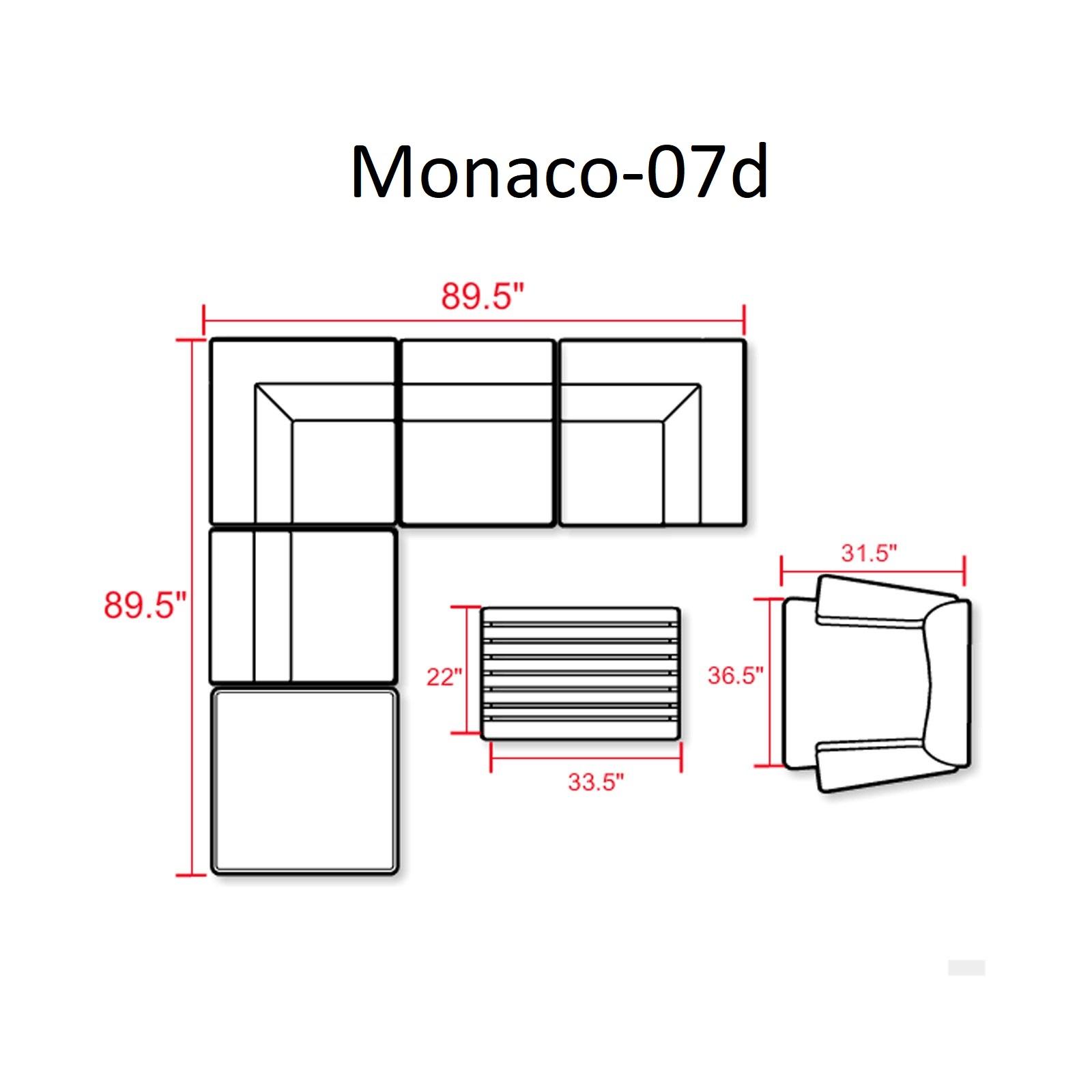 Monaco 7 Piece Outdoor Wicker Patio Furniture Set 07d - TK Classics