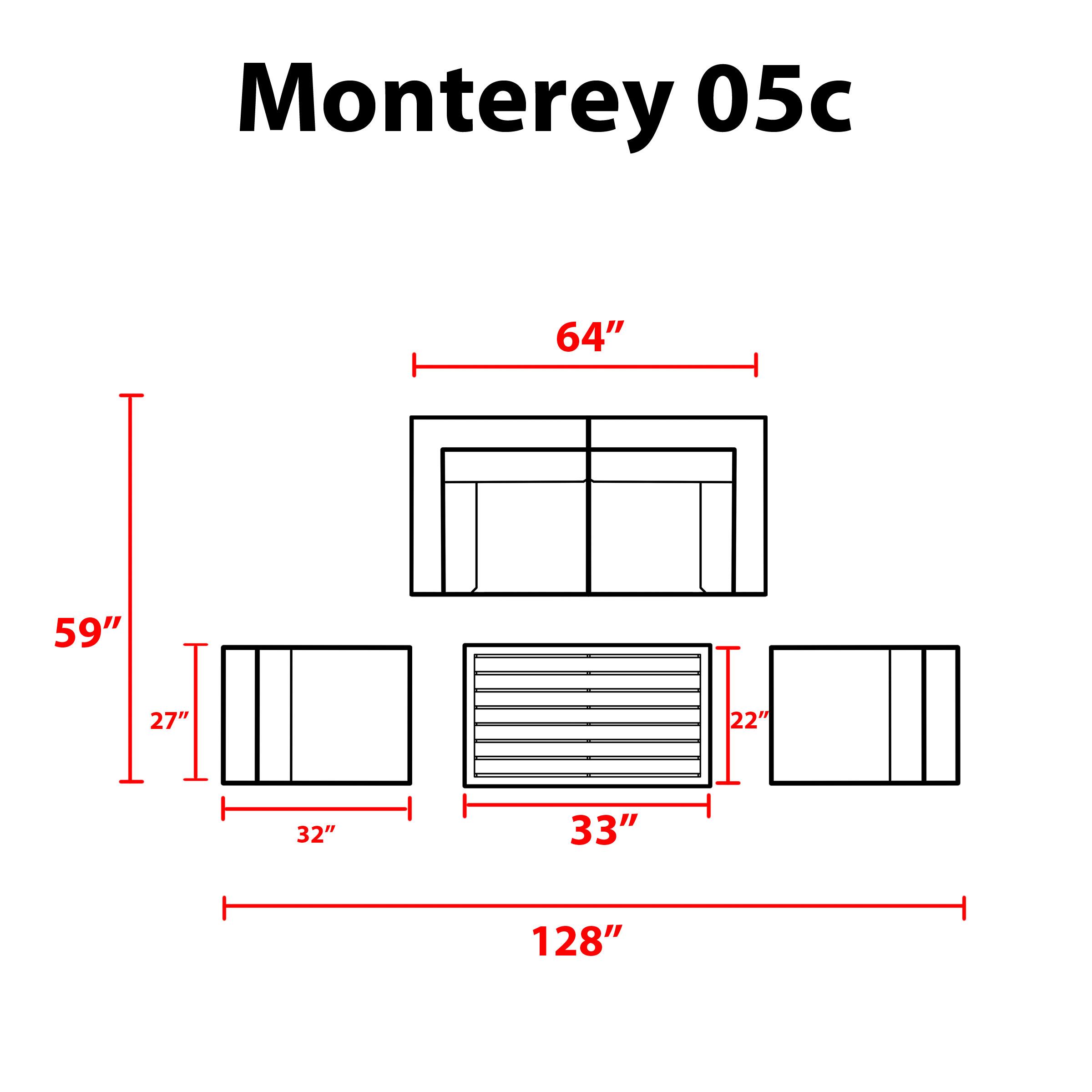 Monterey 5 Piece Outdoor Wicker Patio Furniture Set 05c -