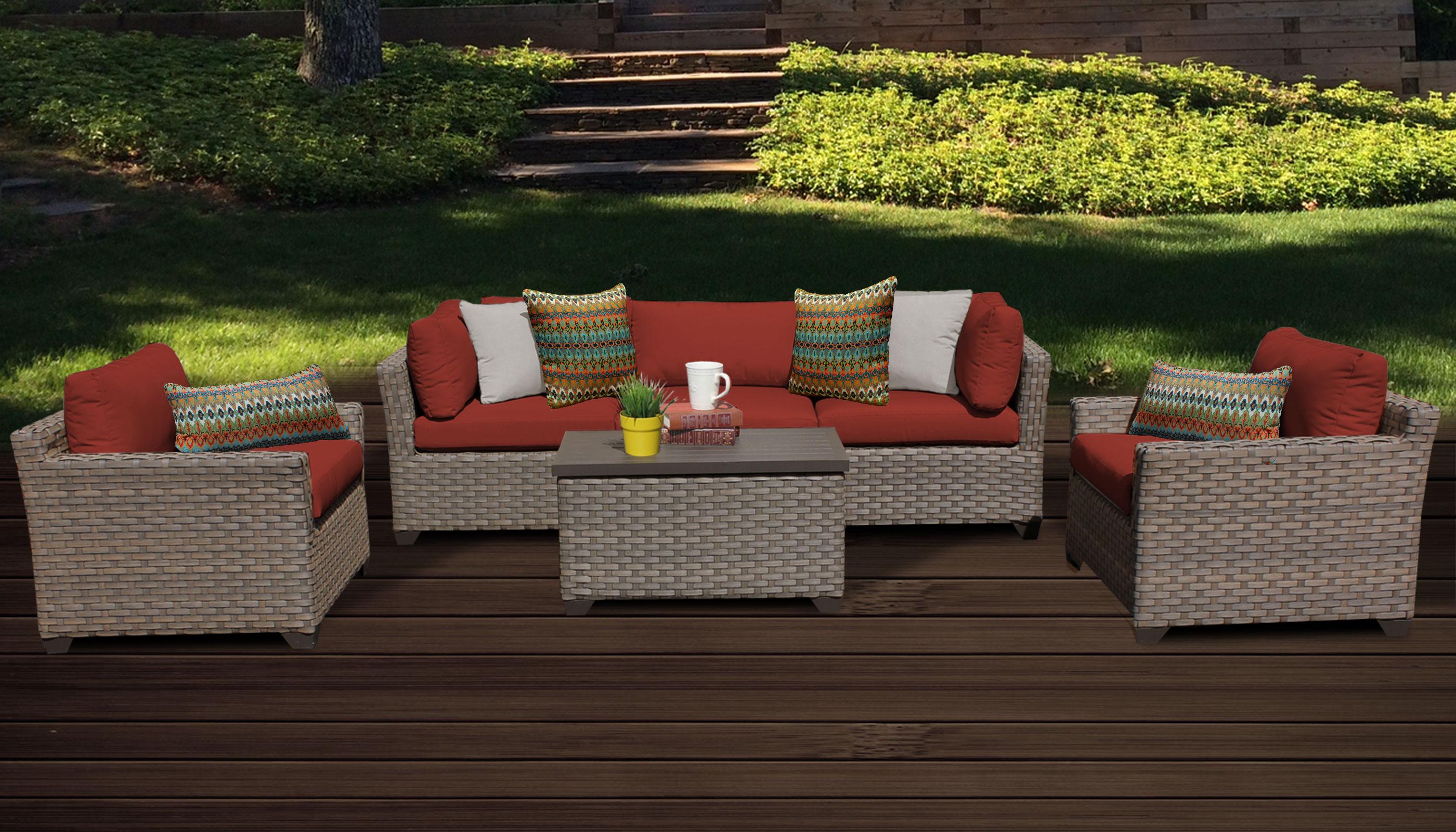 Monterey 6 Piece Outdoor Wicker Patio Furniture Set 06b -