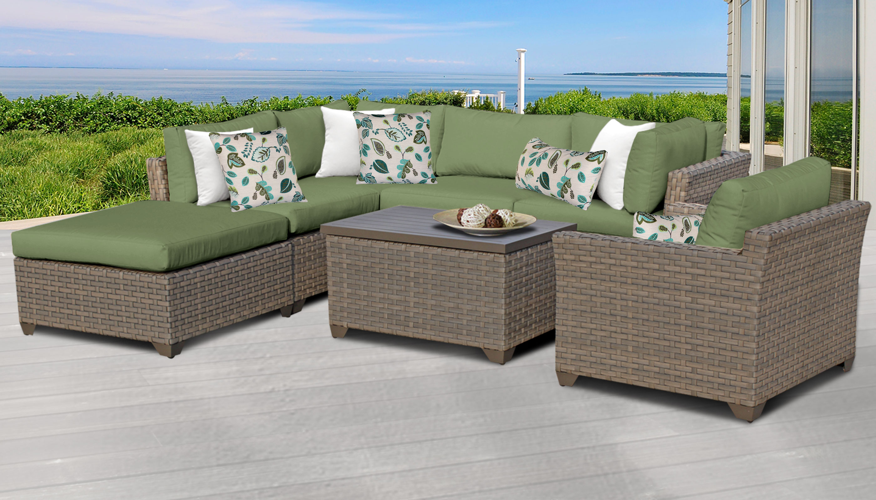 Monterey 7 piece outdoor wicker patio furniture set 07d for Outdoor furniture 7 piece