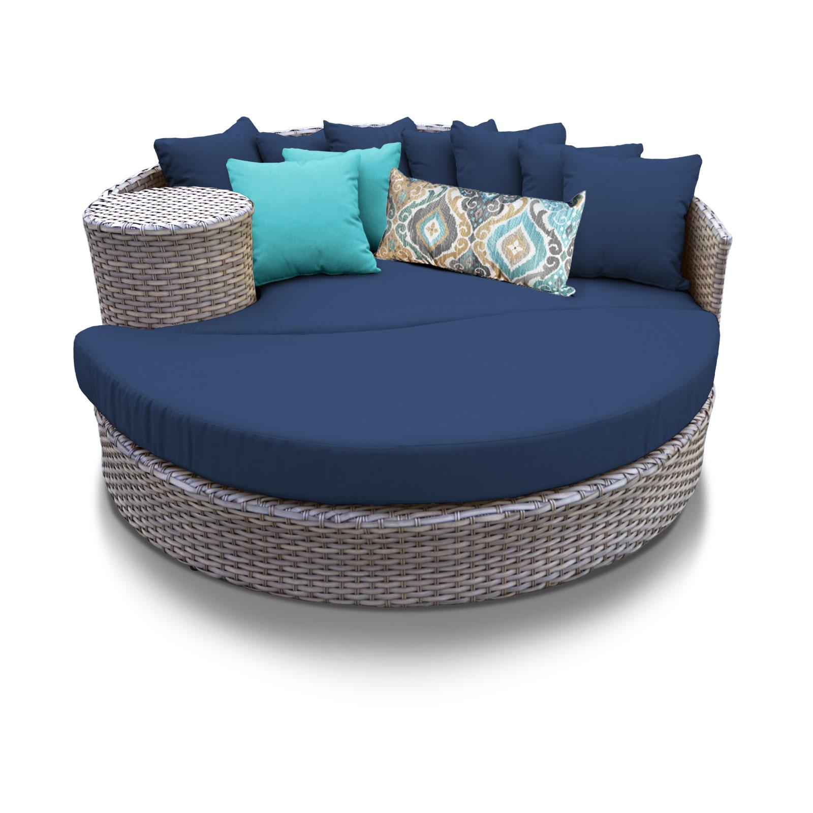 Navy Oasis Circular Sun Bed Outdoor Wicker Patio Furniture Tk Clics