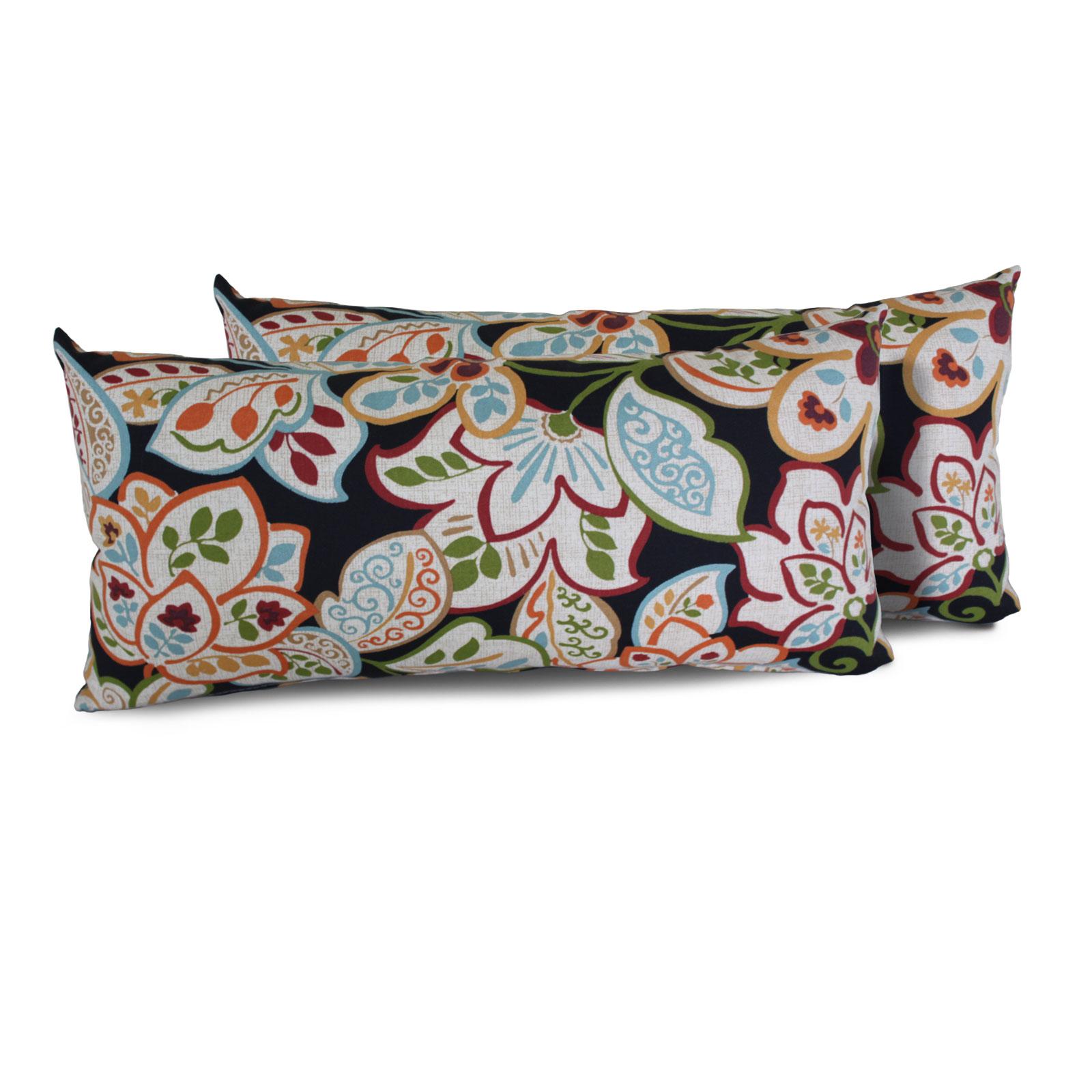 tk classics  villa floral outdoor throw pillows rectangle set of  - villa floral villa floral outdoor throw pillows rectangle set of