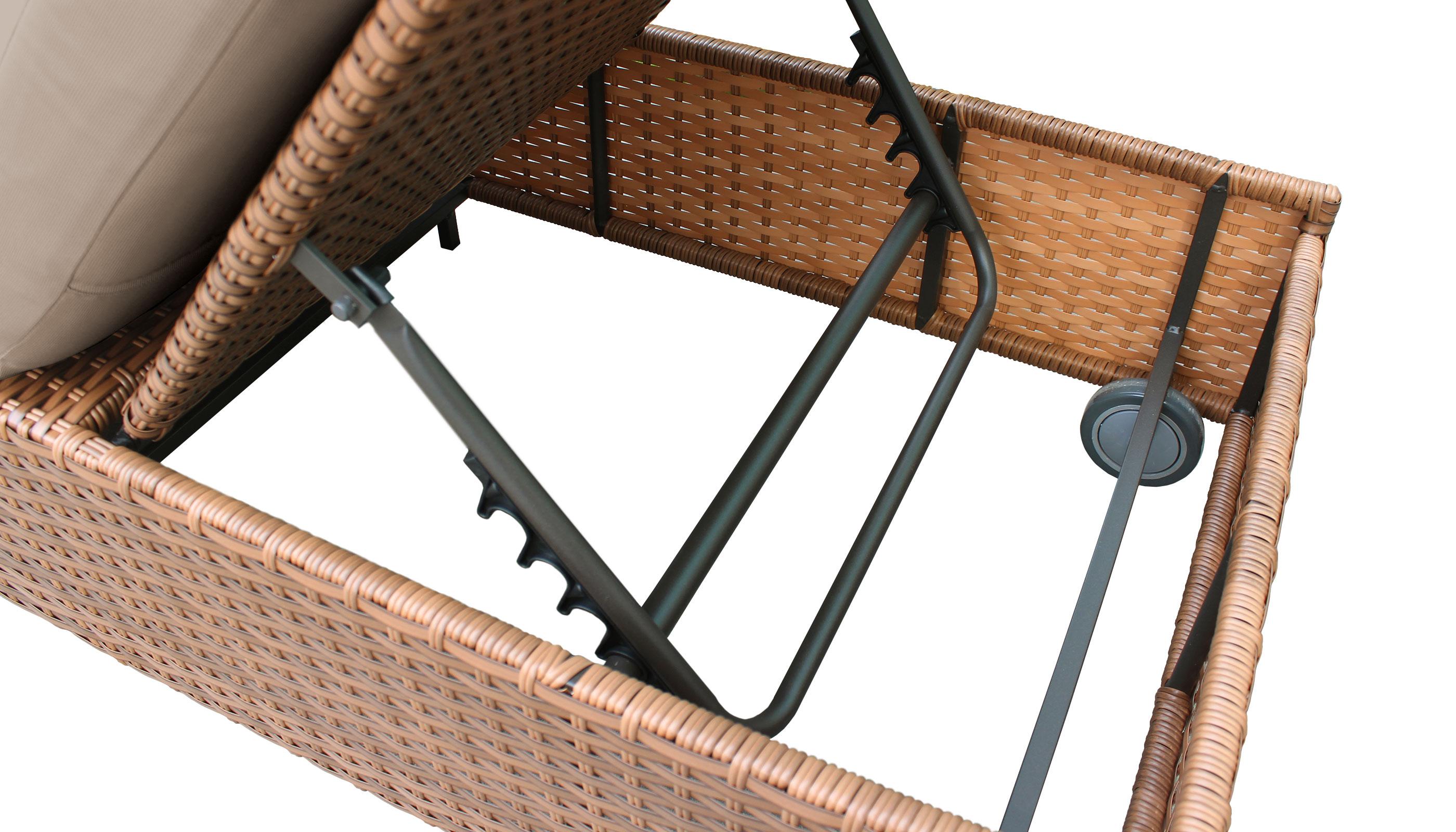 Laguna Wheeled Chaise Set of 2 Outdoor Wicker Patio Furniture - TK Classics
