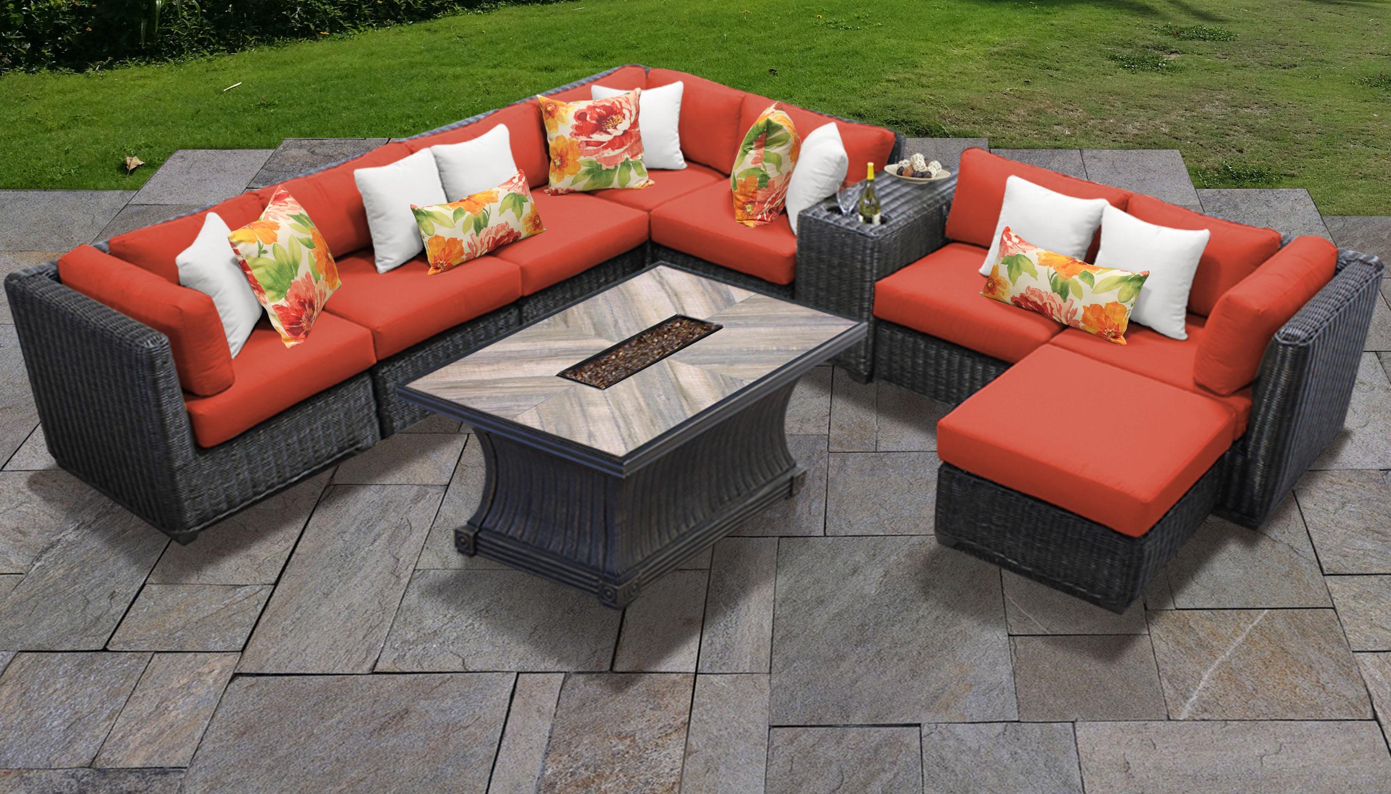 Tangerine Venice 10 Piece Outdoor Wicker Patio Furniture Set 10h Tk Clics