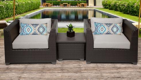 Barbados 3 Piece Outdoor Wicker Patio Furniture Set 03a - TK Classics