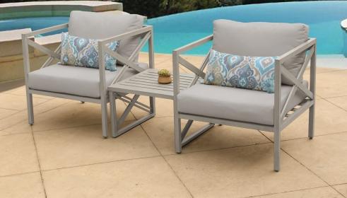 Carlisle 3 Piece Outdoor Wicker Patio Furniture Set 03a - TK Classics