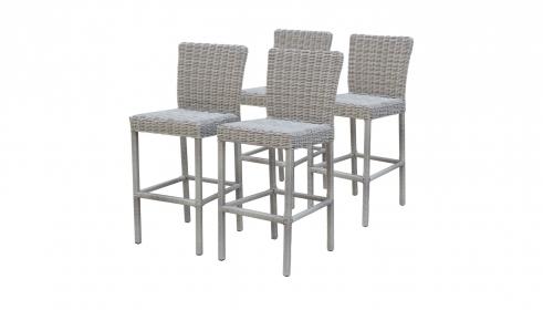 Coast Pub Table Set With Barstools 5 Piece Outdoor Wicker Patio Furniture - TK Classics