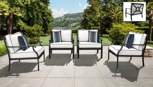 kathy ireland Homes & Gardens Madison Ave. 4 Piece Outdoor Aluminum Patio Furniture Set 04g - TK Classics