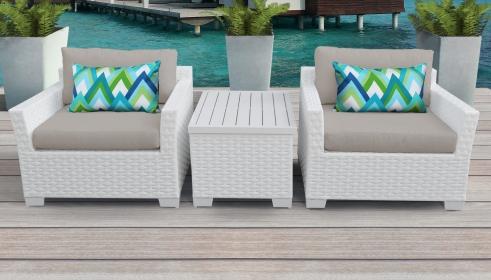 Monaco 3 Piece Outdoor Wicker Patio Furniture Set 03a - TK Classics