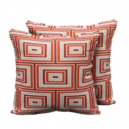 kathy ireland Homes & Gardens Atrium Pillow in Persimmon Square Set of 2 - TK Classics