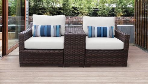 kathy ireland River Brook 3 Piece Outdoor Wicker Patio Furniture Set 03b - TK Classics