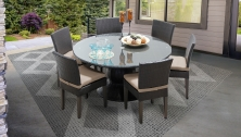 Barbados 60 Inch Outdoor Patio Dining Table with 6 Armless Chairs - TK Classics