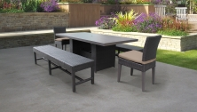 Barbados Rectangular Outdoor Patio Dining Table With 2 Chairs and 2 Benches - TK Classics