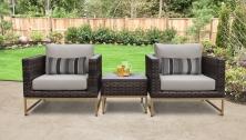 Amalfi 3 Piece Outdoor Wicker Patio Furniture Set 03a - TK Classics