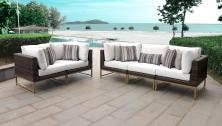 Amalfi 5 Piece Outdoor Wicker Patio Furniture Set 05a - TK Classics