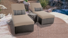 Belle Chaise Set of 2 Outdoor Wicker Patio Furniture With Side Table - TK Classics