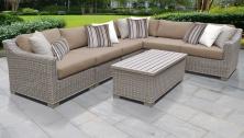 Coast 7 Piece Outdoor Wicker Patio Furniture Set 07b - TK Classics