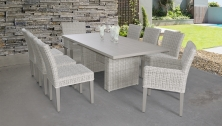 Coast Rectangular Outdoor Patio Dining Table with with 6 Armless Chairs and 2 Chairs w/ Arms - TK Classics