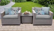 Florence 3 Piece Outdoor Wicker Patio Furniture Set 03a - TK Classics