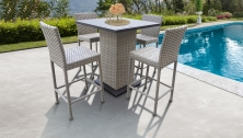 Florence Pub Table Set With Barstools 5 Piece Outdoor Wicker Patio Furniture - TK Classics