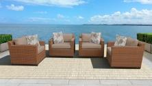 Laguna 4 Piece Outdoor Wicker Patio Furniture Set 04b - TK Classics