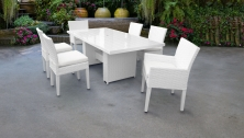 Monaco Rectangular Outdoor Patio Dining Table with with 4 Armless Chairs and 2 Chairs w/ Arms - TK Classics