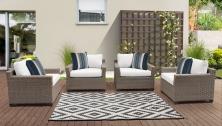 Monterey 4 Piece Outdoor Wicker Patio Furniture Set 04a - TK Classics