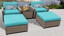 Monterey 5 Piece Outdoor Wicker Patio Furniture Set 05a - TK Classics