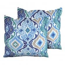 Cobalt Outdoor Throw Pillows Square Set of 2 - TK Classics